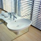 Wash hand basin wall hung for easy accessibility for wheel chair users